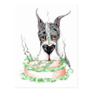 Torta de cumpleaños de great dane Merle Postales