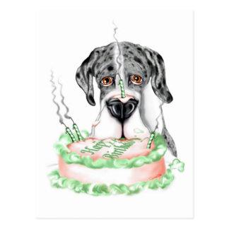 Torta de cumpleaños de great dane Merle UC Postales