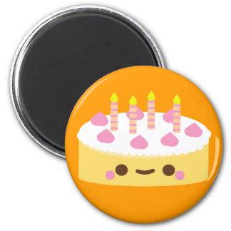 Torta de cumpleaños de la vainilla imanes de nevera