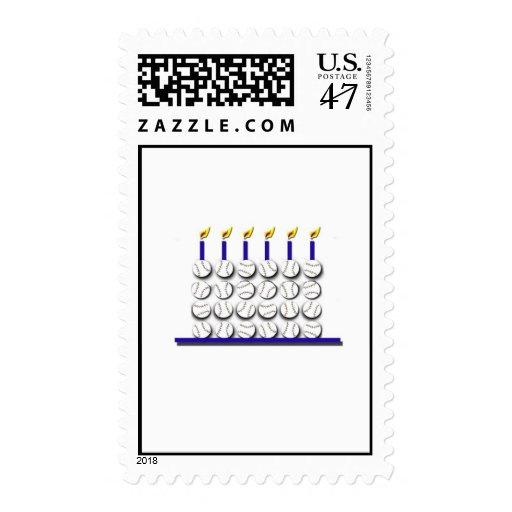 Torta de cumpleaños del béisbol timbres postales