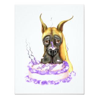 """Torta de cumpleaños del cervatillo de great dane invitación 4.25"""" x 5.5"""""""