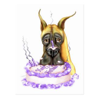 Torta de cumpleaños del cervatillo de great dane postales