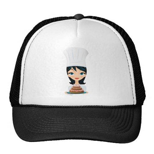 Torta de cumpleaños del cocinero de la mujer gorras
