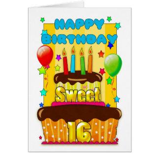 torta de cumpleaños del dulce 16 con las velas - tarjeta de felicitación