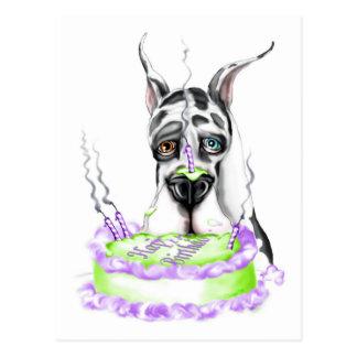 Torta de cumpleaños del Harlequin de great dane Postales