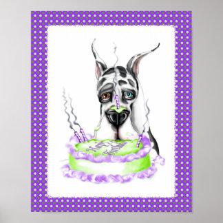 Torta de cumpleaños del Harlequin de great dane Póster