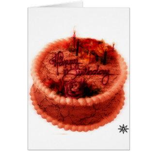 Torta de cumpleaños del zombi tarjeta de felicitación