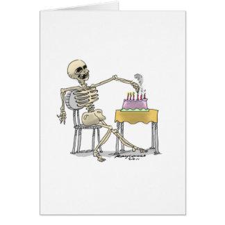 torta de cumpleaños esquelética tarjeta de felicitación