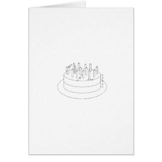 Torta de cumpleaños - estilo arquitectónico elabor tarjeta de felicitación