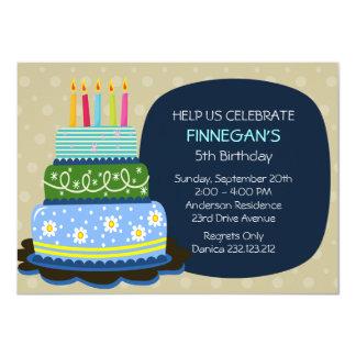 """Torta de cumpleaños grande para el muchacho del invitación 4.5"""" x 6.25"""""""
