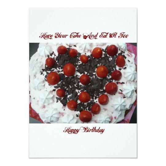 """Torta de cumpleaños invitación 4.5"""" x 6.25"""""""