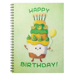 Torta de cumpleaños linda de Kawaii Libreta