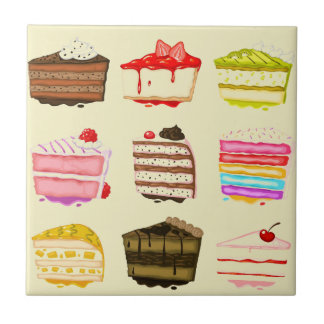 Torta de cumpleaños linda de la torta con crema azulejo cuadrado pequeño