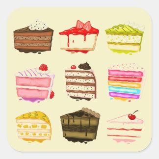 Torta de cumpleaños linda de la torta con crema pegatina cuadrada