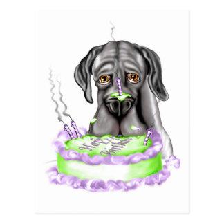 Torta de cumpleaños negra de great dane UC Postales