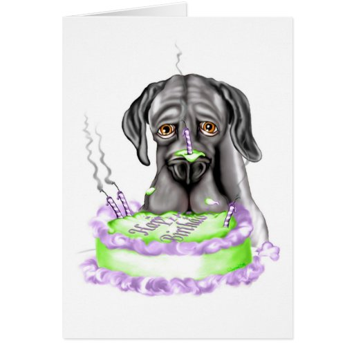Torta de cumpleaños negra de great dane UC Tarjeta De Felicitación