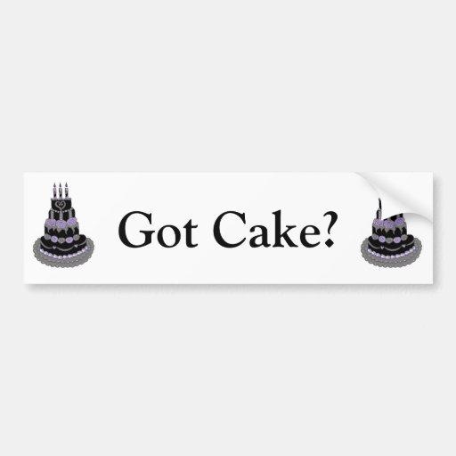 Torta de cumpleaños púrpura gótica pegatina para auto