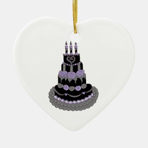 Torta de cumpleaños púrpura gótica adorno de cerámica en forma de corazón