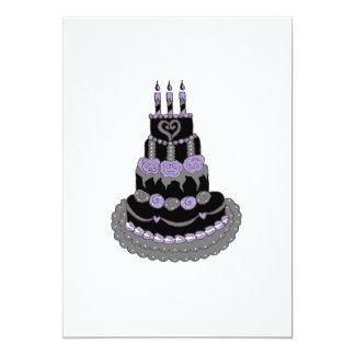"""Torta de cumpleaños púrpura gótica invitación 5"""" x 7"""""""