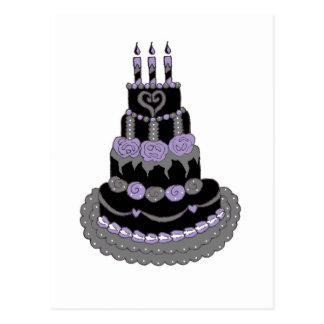 Torta de cumpleaños púrpura gótica postales