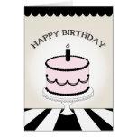 Torta de cumpleaños/rayas rosadas y negras felicitaciones