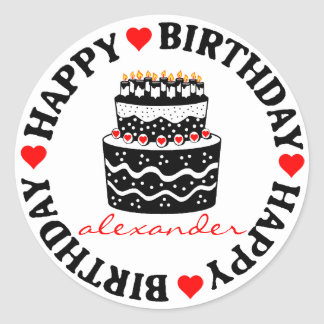 Torta de cumpleaños roja y negra pegatina redonda