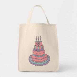 Torta de cumpleaños rosada bonita bolsa tela para la compra