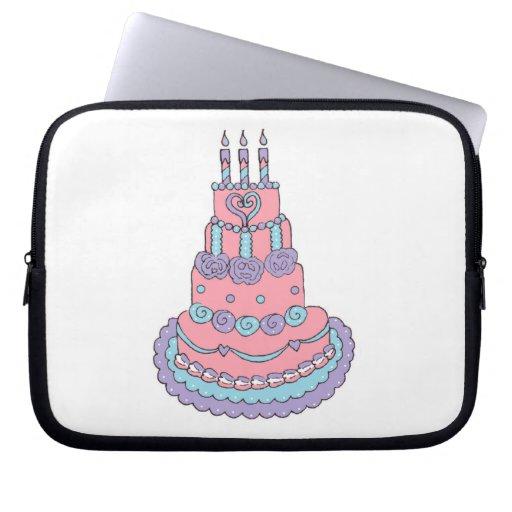 Torta de cumpleaños rosada bonita fundas computadoras