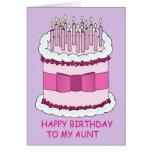 Torta de cumpleaños rosada de la tía tarjeton