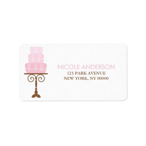 Torta de cumpleaños rosada etiquetas de dirección