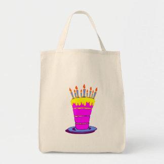 Torta de cumpleaños rosada gigante bolsa tela para la compra