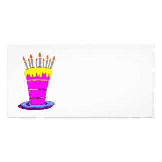 Torta de cumpleaños rosada gigante tarjetas con fotos personalizadas