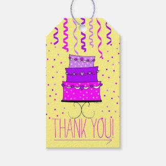 Torta de cumpleaños rosada y púrpura - gracias etiquetas para regalos