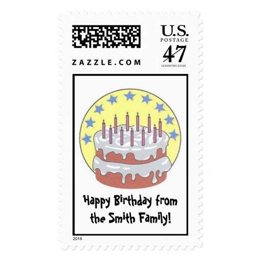 Torta de cumpleaños timbres postales
