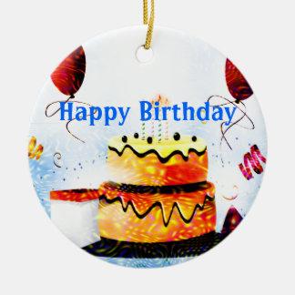 Torta de cumpleaños y fiesta de los globos en azul adorno navideño redondo de cerámica