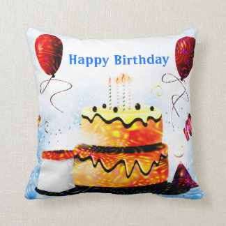 Torta de cumpleaños y fiesta de los globos en azul cojín