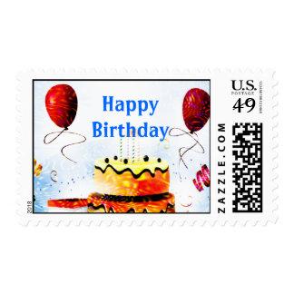 Torta de cumpleaños y fiesta de los globos en azul estampillas