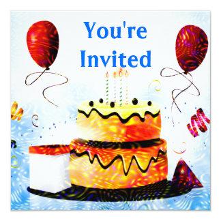 """Torta de cumpleaños y fiesta de los globos en azul invitación 5.25"""" x 5.25"""""""