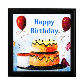 Torta de cumpleaños y fiesta de los globos en azul joyero cuadrado grande