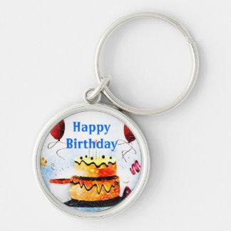 Torta de cumpleaños y fiesta de los globos en azul llavero redondo plateado