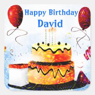 Torta de cumpleaños y fiesta de los globos en azul pegatina cuadrada