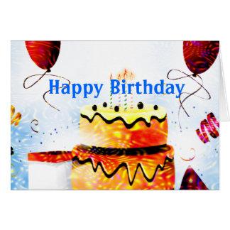 Torta de cumpleaños y fiesta de los globos en azul tarjeta de felicitación