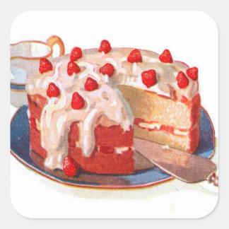 Torta de frutas retra de la fresa de la comida del pegatina cuadrada