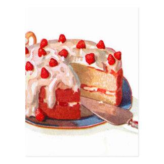 Torta de frutas retra de la fresa de la comida del postales