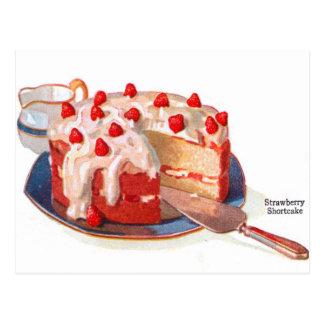 Torta de frutas retra de la fresa de la comida del postal