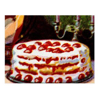 Torta de frutas retra del arte del libro de cocina tarjetas postales