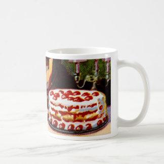 Torta de frutas retra del arte del libro de cocina tazas