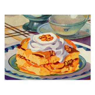 Torta de frutas retra del melocotón del libro de c postal