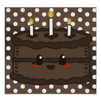 Torta de Kawaii - poster del chocolate Póster