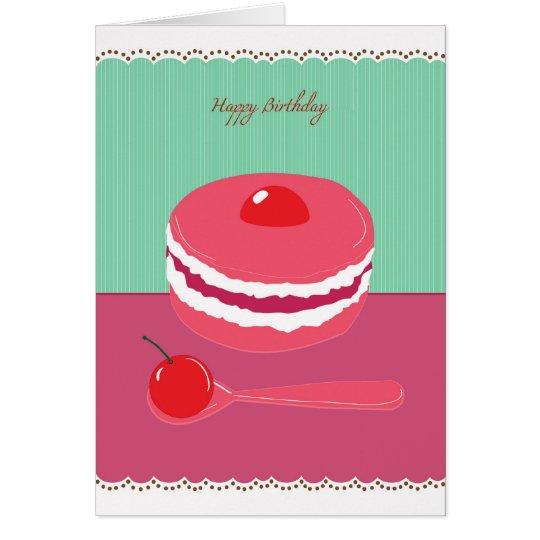 torta de la crema del feliz cumpleaños tarjeta de felicitación